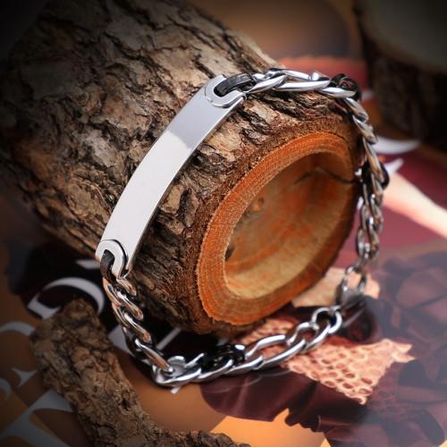 İsim Yazılabilen Geniş Çelik Zincir Bileklik