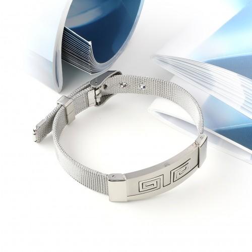 İşlemeli 316L Ayar Çelik Hasır Kordonlu Bileklik