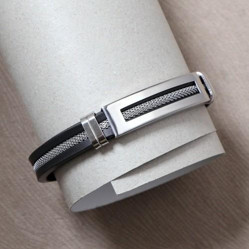 Kauçuk Ortası Hasır Çelik Bileklik