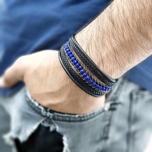 Mavi Faset Akik Doğal Taşlı Çoklu Deri Kordonlu Bileklik