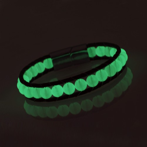 Neon Fosforlu Deri Çelik Bilelklik