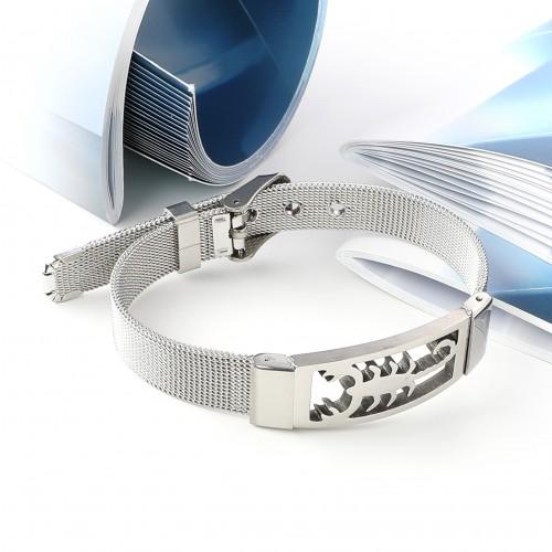 Scorpion Akrep 316L Ayar Çelik Hasır Kordonlu Bileklik