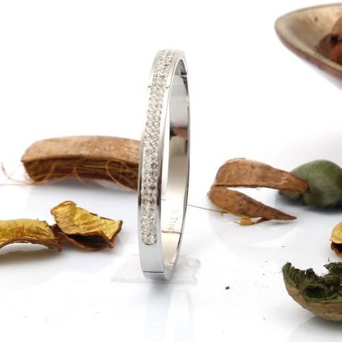 Taşlı Bayan Çelik Bileklik Modeli